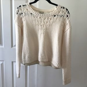 cream cropped sweater size s